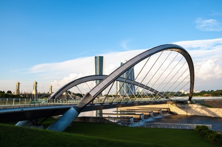 Modern curvy bridge in Putrajaya, Malaysia