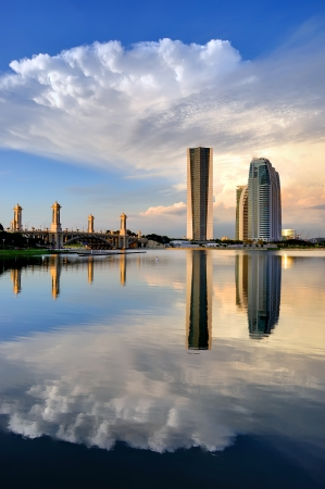 Landscape of new government building in Putrajaya, Malaysia at sunset