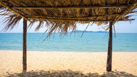 hut: Seaview from inside a bamboo hut at the beach
