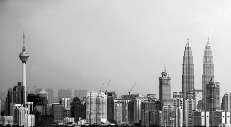 Kuala Lumpur city in black and white
