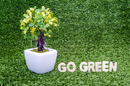 small tree: Eco concept. Go green words on green grass with small tree
