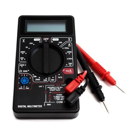 impedance: Digital multimeter on white background Stock Photo