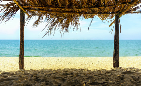 Sea view from inside a bamboo hut at the beach