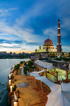 islamic scenery: Beautiful view of Putra Mosque during sunset in Putrajaya, Malaysia Editorial