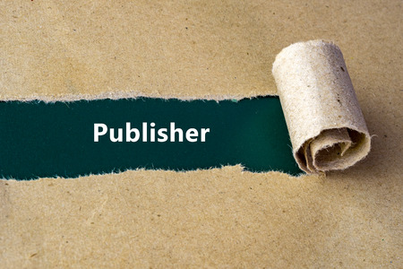 the publisher: Torn brown paper on green surface with Publisher word.