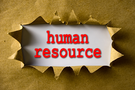 human relationships: Torn brown paper with word Human resource