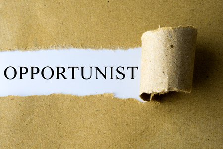 opportunist: Torn brown paper with OPPORTUNIST word. Stock Photo