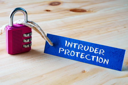 intruder: Words INTRUDER PROTECTION written on tag label tied with a padlock. Stock Photo