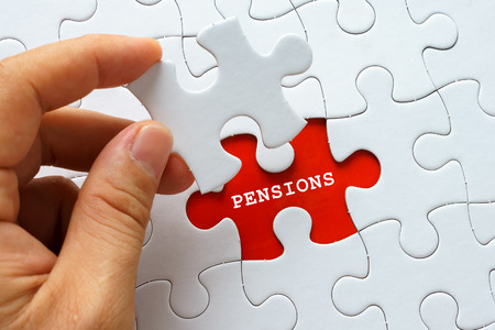 pensions: White puzzle with word PENSIONS