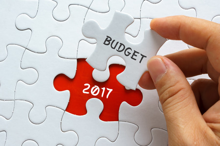 initiatives: Hand holding jigsaw puzzle with word BUDGET 2017.
