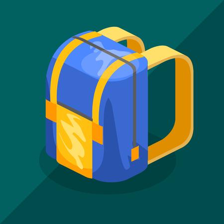 schoolbag: Schoolbag flat isometric.