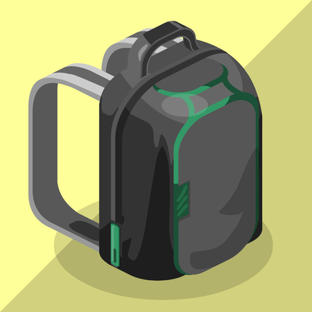 knapsack: Schoolbag flat isometric. Knapsack vector icon.Rucksack vector. Colorful backpack isometric.