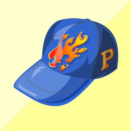 baseball caps: Cap illustration design isometric cartoon fashion fire Illustration