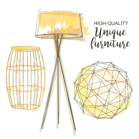 furniture design: furniture set sketch decor polygonal sphere table lamp