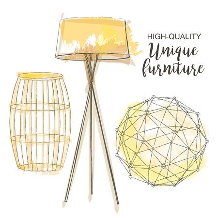 standing lamp: furniture set sketch decor polygonal sphere table lamp
