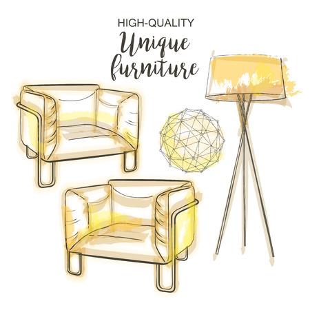 floor lamp: furniture set sketch Floor lamp chair polygonal sphere