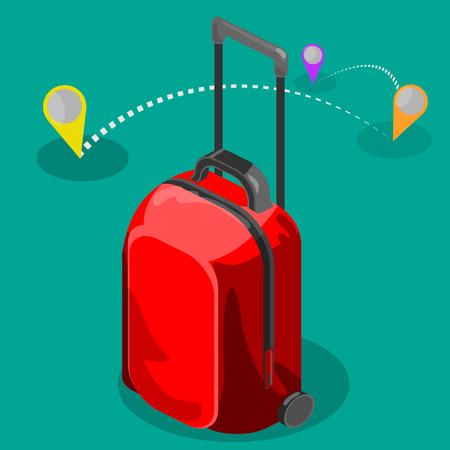 puntos cardinales: bolsa de viaje marca un mapa isométrico viaje del equipaje