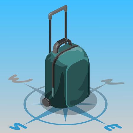 puntos cardinales: bolsa de viaje brújula de navegación isométrica recorrido de equipaje