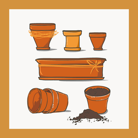 different shapes: Set of ceramic pots of different shapes.