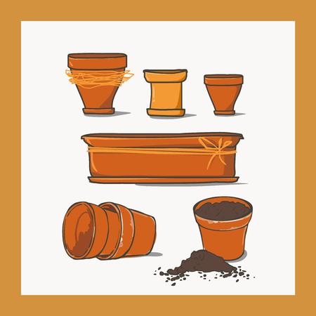 humus: Set of ceramic pots of different shapes.