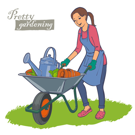 flowerpots: Young woman in apron carrying a wheelbarrow with garden watering can, ceramic flowerpots. Garden work.
