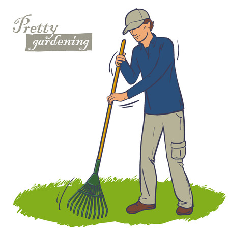 backyard work: The man in the cap works a rake in the garden. Cleaning green lawn. Lawn care. Illustration