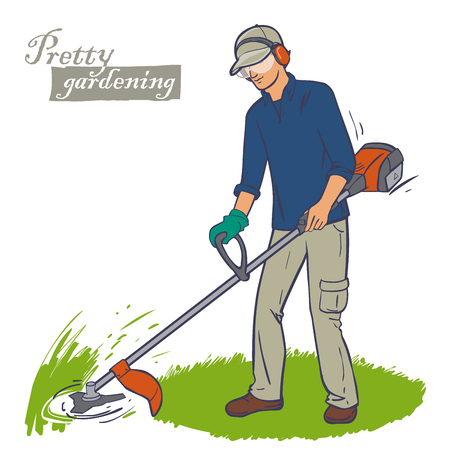 mover: Landscaper cutting grass using string lawn trimmer. Male worker with power tool string lawn trimmer move. Lawn mover worker.