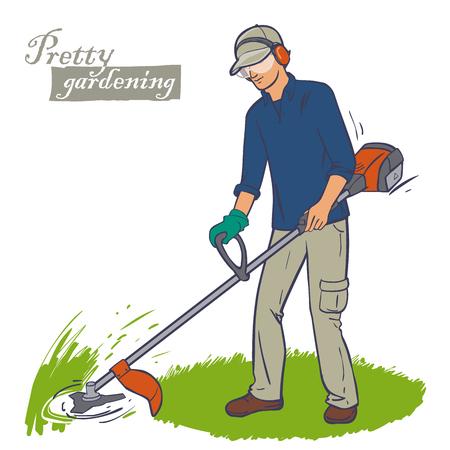 Tuinarchitect het maaien van gras met behulp van touw gazon trimmer. Mannelijke arbeider met elektrisch gereedschap reeks gazon trimmer zet. Gazonverhuizer werker. Stockfoto - 58551233