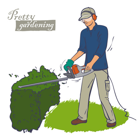 wearing a protection overall. A man trimming a bush Cutting a hedge