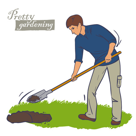 digging: Man with shovel digging a hole illustration. Man digs a hole in the ground for planting trees Illustration