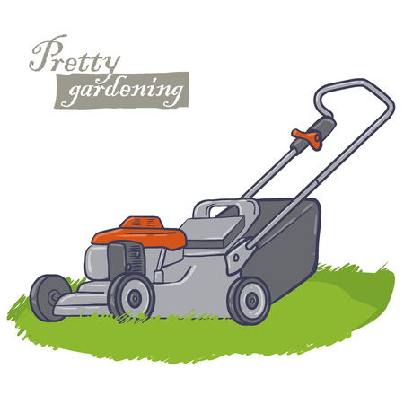 mowing the grass: garden electric tools, a machine for cutting the grass on a lawns, lawn-mower