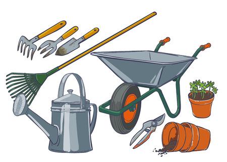 watering pot: Garden Tools. Tedder rake shovel shovel wheelbarrow garden watering can pruner ceramic pot soil seedlings. Stock Photo