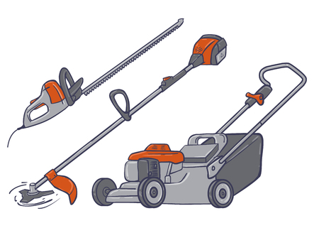 trimmer: Garden electric tools isolated saws trimmer lawn-mower Stock Photo