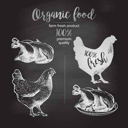 Zeichnung auf der Tafel. Gebratenes Hühnchen. Entwurf für Landwirtschaft, Originalverpackung und andere Arten von Bio-Produkt-Geschäft. Vektor-Illustration im Vintage-Stil Standard-Bild - 58551247