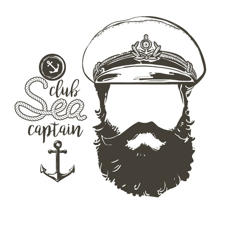 forage: Portrait of captain. Beard, forage cap,  anchor, rope.