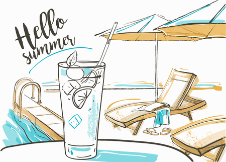poolside: cocktail with fresh lime at the beach, umbrellas and sunbeds. Illustration