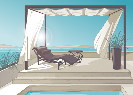Pergola with white curtains and swimming pool near the sea