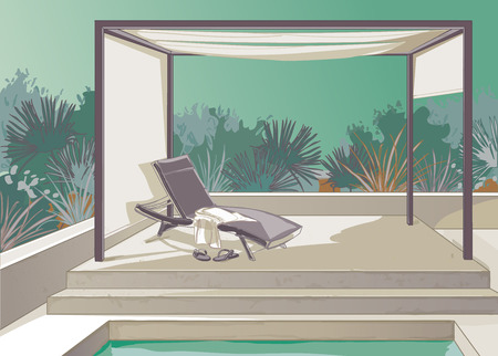 secluded: Pergola with white curtains deckchair by the pool on the background of the tropics Illustration