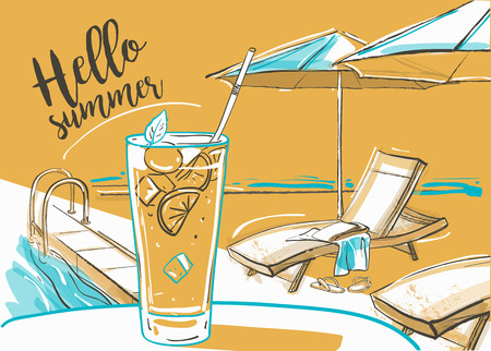 sunbeds: cocktail with fresh lime at the beach, umbrellas and  sunbeds. Illustration