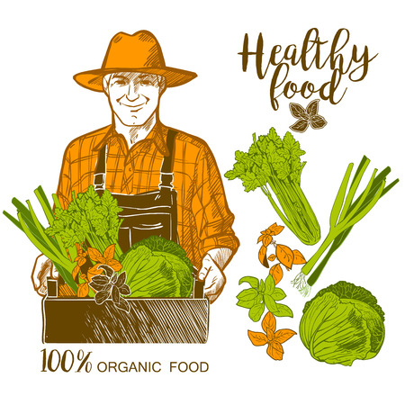 wooden crate: Portrait of a mature farmer carrying a wooden crate full of fresh vegetables and herbs Illustration