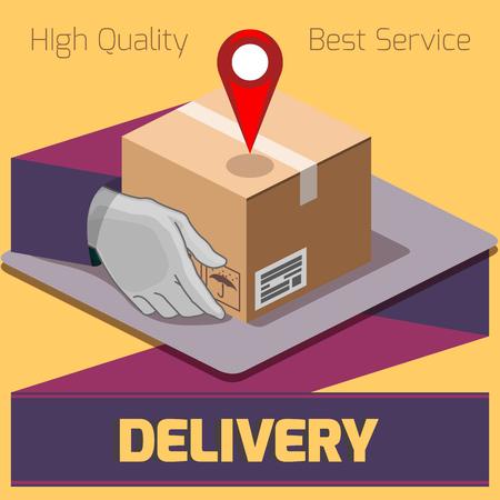 delivery box to destination service package hand Vektoros illusztráció