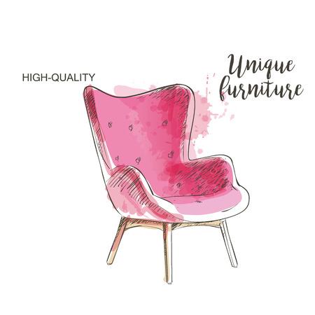 ahogarse: silla roja aislada dibujo a mano muebles se ahogan