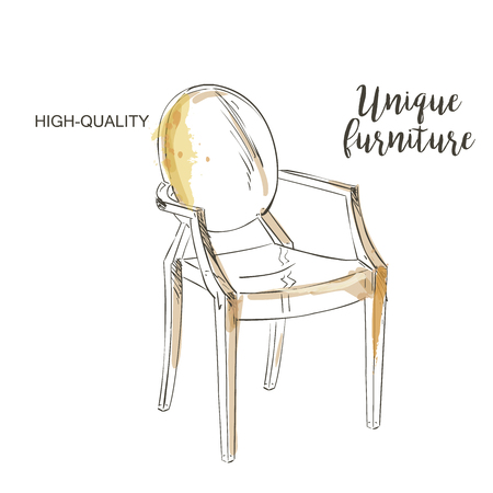 ahogarse: silla moderna aislada dibujo a mano muebles se ahogan Vectores