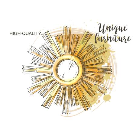 ahogarse: Golden mirror frame sketch hand drown furniture