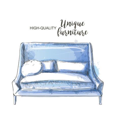ahogarse: azul bosquejo moderno sofá ahogan aislado de la mano Vectores
