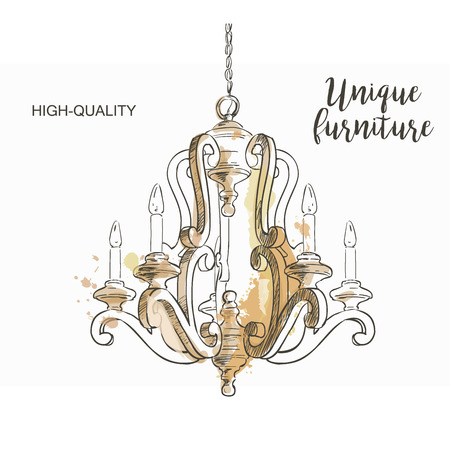 chandelier isolated: Vintage chandelier isolated sketch hand drown furniture Illustration