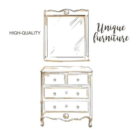 dresser: wooden painted dresser with mirror sketch hand drown furniture Illustration