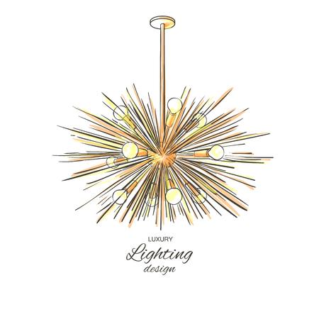 Modern golden lamp hanging from the ceiling. Lighting decor