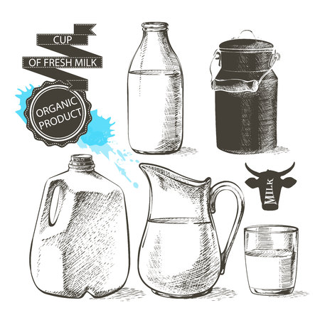 gallon: bottles and jars gallon with fresh milk products can container for milk isolated on white background Illustration