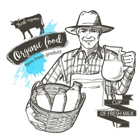 Porträt eines reifen Landwirt ein Glas und Korb voll von Flaschen mit Milchprodukten tragen